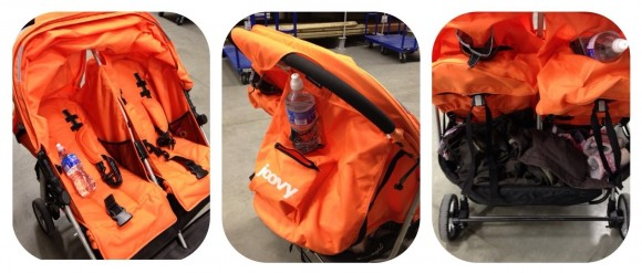 The ScooterX2 Stroller provides a lot of storage all over from pockets in each seat to cup holders, pockets and the biggest underneath storage area you have ever seen.