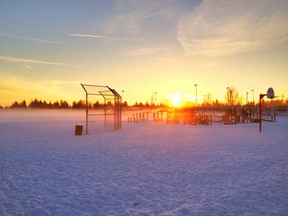 Winter, Morning, Sun rise