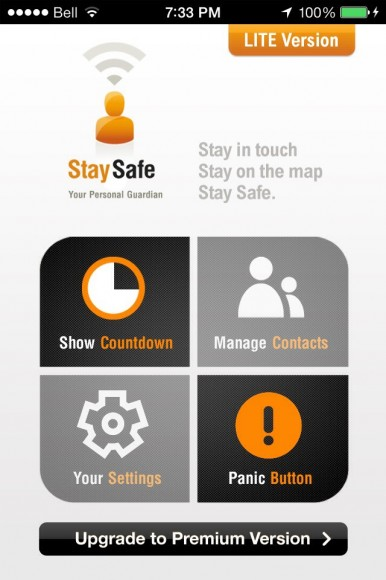 Screen shot of the Stay Safe iPhone app for post on personal safety