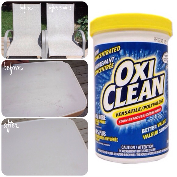 OxiClean Versatile Stain Remover on outdoor furniture
