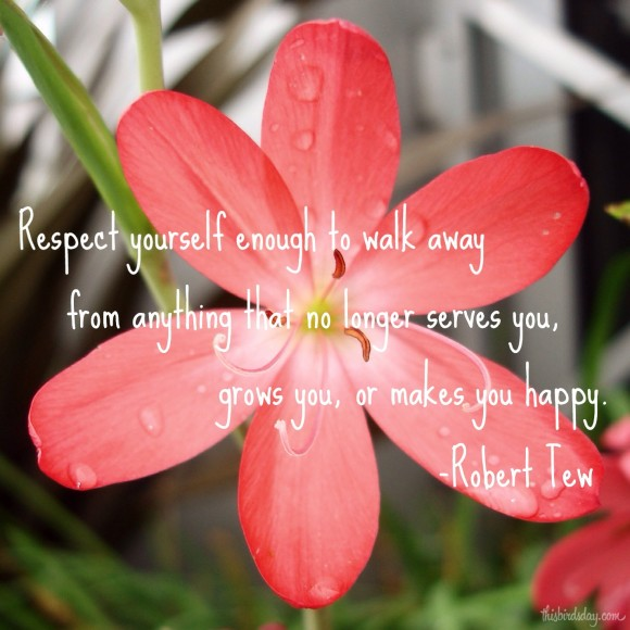 Respect yourself enough to walk away from anything that no longer serves you, grows you, or makes you happy. Robert Tew. Photo copyright: Sheri Landry