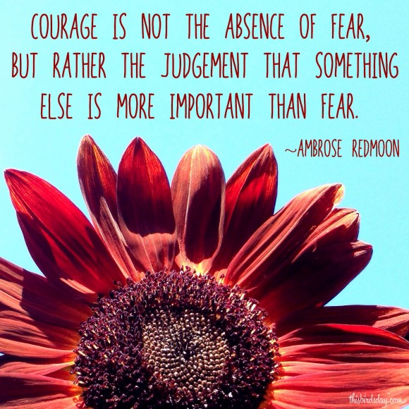 """Courage is not the absence of fear, but rather the judgement that something is more important than fear."" Ambrose Redmoon. Photo copyright Sheri Landry"